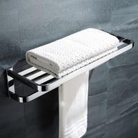 Double Layer Bathroom Towel Racks Wall Mounted Stainless Steel Towel Shelf Bath Towel Holding Bars