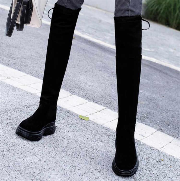 Yeni moda kadın ayakkabı sonbahar Süet bayanlar Yuvarlak kafa Bow lace up Uzun tüp ayakkabı kadın Breathableslip üzerinde platform ayakkabılar S853