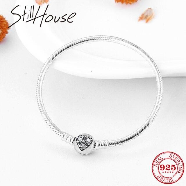 ולנטיין של יום מתנה נחש עצם שרשרת צמידי צמידי אמיתי 925 סטרלינג כסף פתית שלג לבבות אופנה נשים תכשיטים