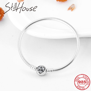 Image 1 - Valentines Day gift Snake Bone chain Bracelets Bangles Real 925 Sterling Silver Snowflake Hearts Fashion Women Jewelry