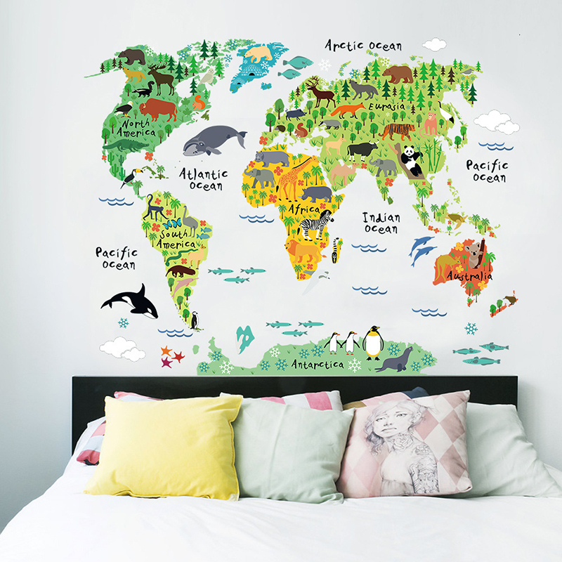 Catoon World Map Animals For Kids Room Living Room Kindergarten School Background Wall Stickers Dercoration Waterproof Removable