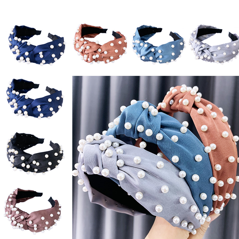 ChenYan  Woman Knot Headband Girl Bow Headbands Fashion Pearl Hairband FG1942