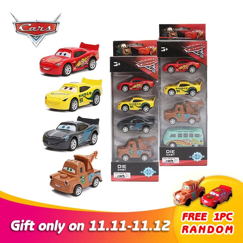 4pcs 7-8cm Disney Pixar Cars 3 Super Power Diecast 1:55 Collection Storm Jackson Lighting McQueen Smokey Pull Back Metal Car Toy