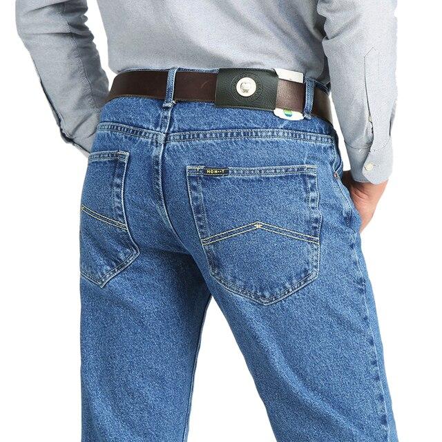 Calça jeans masculina clássica, para homens de negócios primavera outono verão, skinny stretch slim, 2019