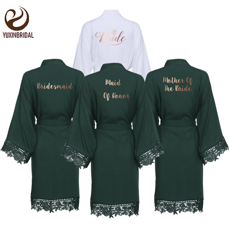 YUXINBRIDAL 2019 New Green Cotton Lace Robes With Lace Trim Women Wedding Bridal Robe Bridesmaid Robes