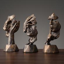 European Black Resin Thinker Art Crafts Ornaments Sculpture Miniature Model Figurines Home Decoration Accessories Birthday Gift