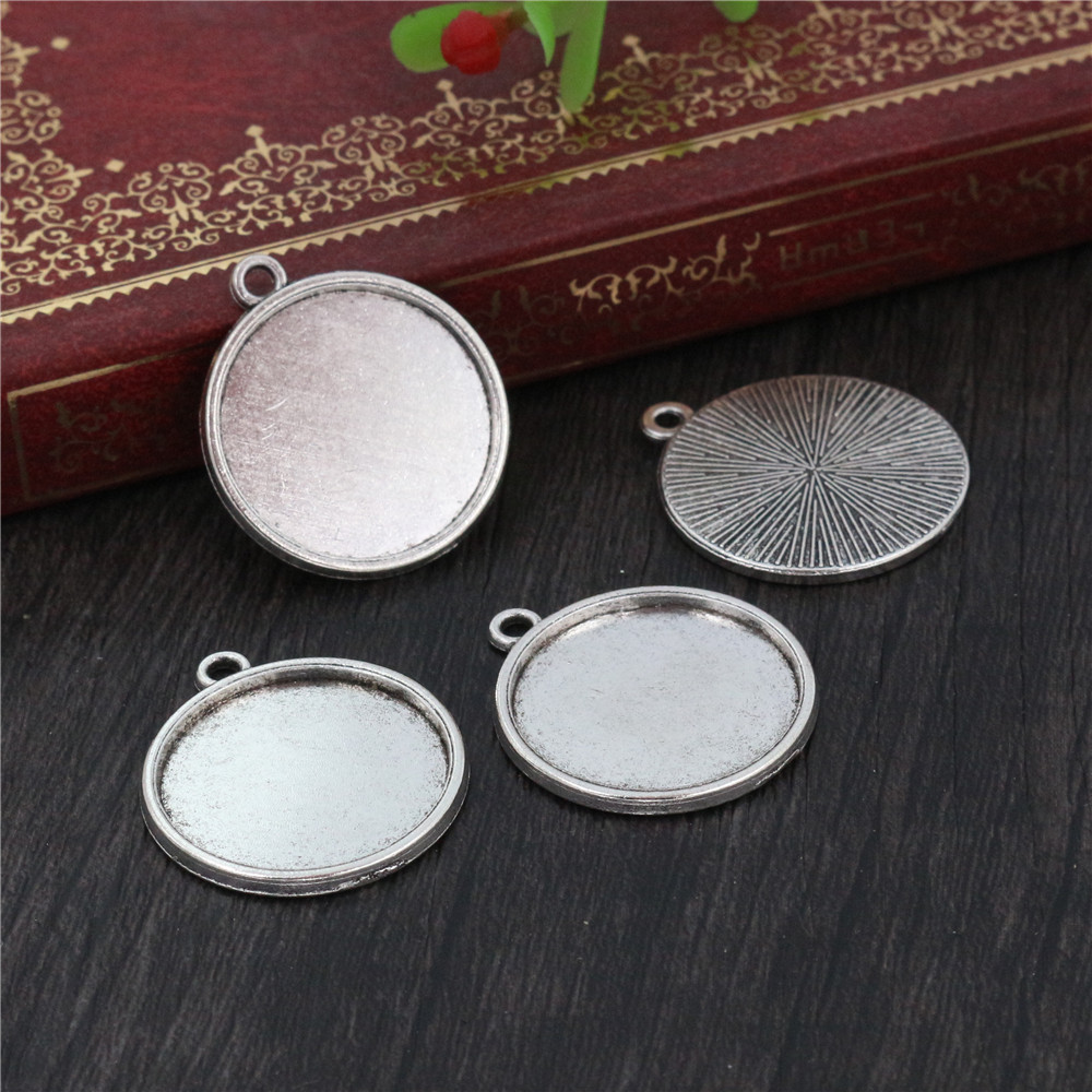 10pcs 20mm Inner Size Antique Silver Plated Classic Style Cabochon Base Setting Charms Pendant (D1-36)