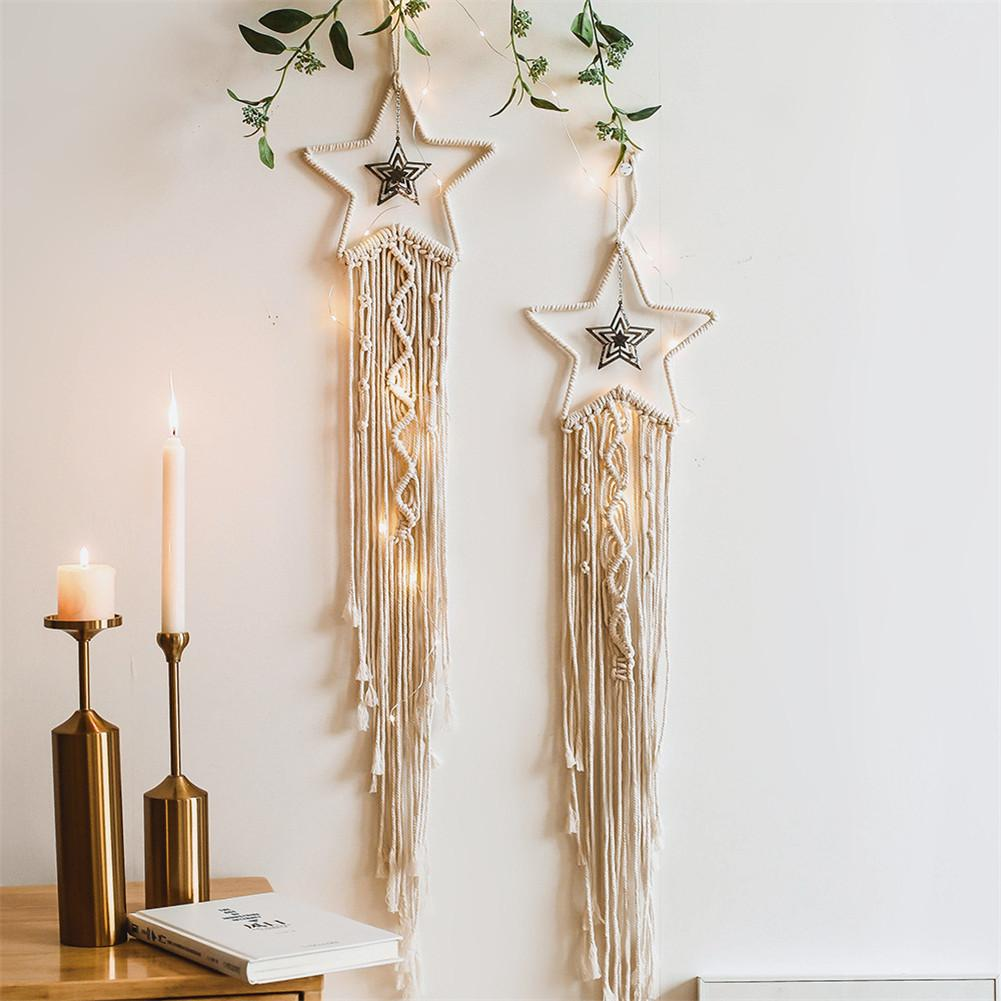 Star Dreamcatcher Macrame Cotton Woven Bohemian Wall Hanging Tapestry Pendant For Bedroom Living Room Decoration