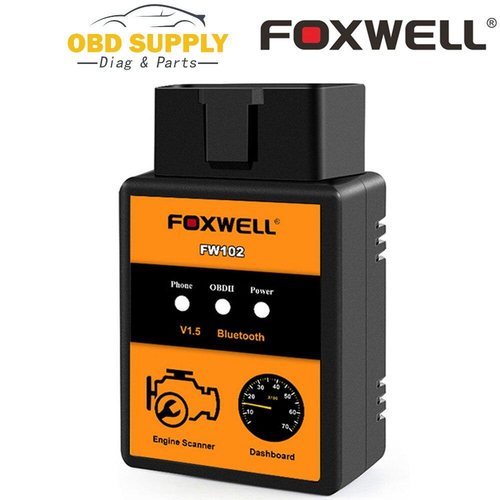 Kod samochodu czytnik FOXWELL FW102 V1.5 ELM327 OBD2 adapter bluetooth OBDII diagnostyczne narzędzie skanujące V 1.5 25K80