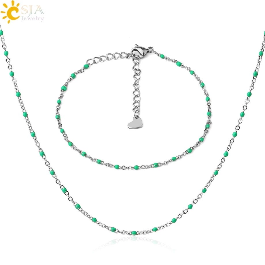 CSJA Jewelry Set Stainless Steel Necklace Bracelets Sets for Women Heart Charms Silver Color Chaine Collier Femme 2020 Boho S733