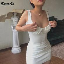 Lusofie Bodycon dress 2020 Summer Dresses for Women Party Club Sexy Dress for Woman Sleeveless Slim White dress Solid Streetwear