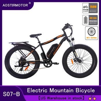 AOSTIRMOTOR elektryczny rower sadło elektryczny rower górski Ebike rower Beach Cruiser rower śnieżny 750W 48V 13Ah bateria litowa rower