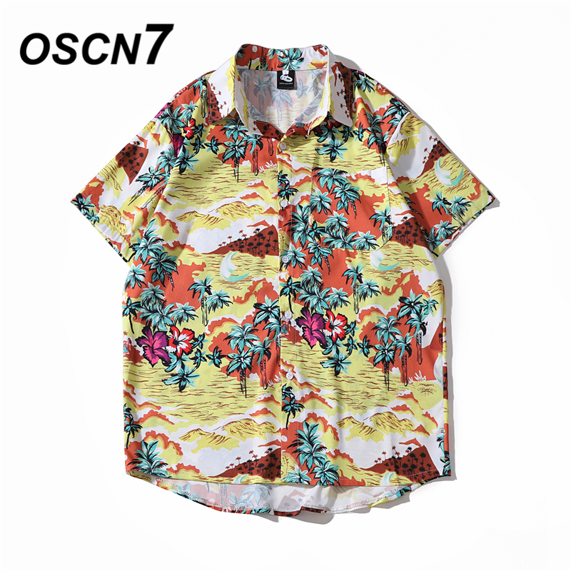 OSCN7 Casual Cloud Printed Short Sleeve Shirt Men Street 2020 Hawaii Beach Oversize Women Fashion Harujuku Shirts For Men 2053