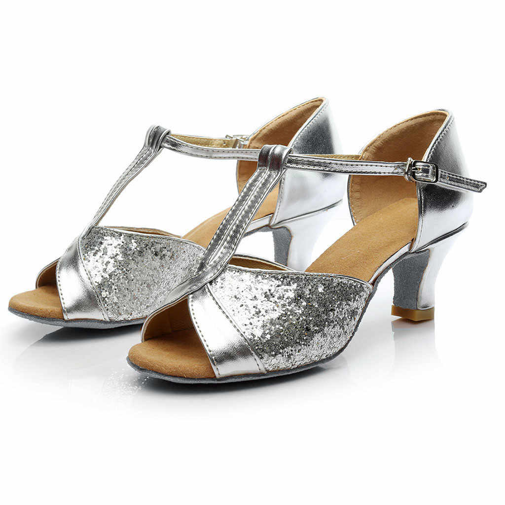 ladies sandals Color Rumba Waltz Prom Sandals Ballroom Latin Salsa Dance Shoes Fish mouth Open Toe sandals Chaussures Femme