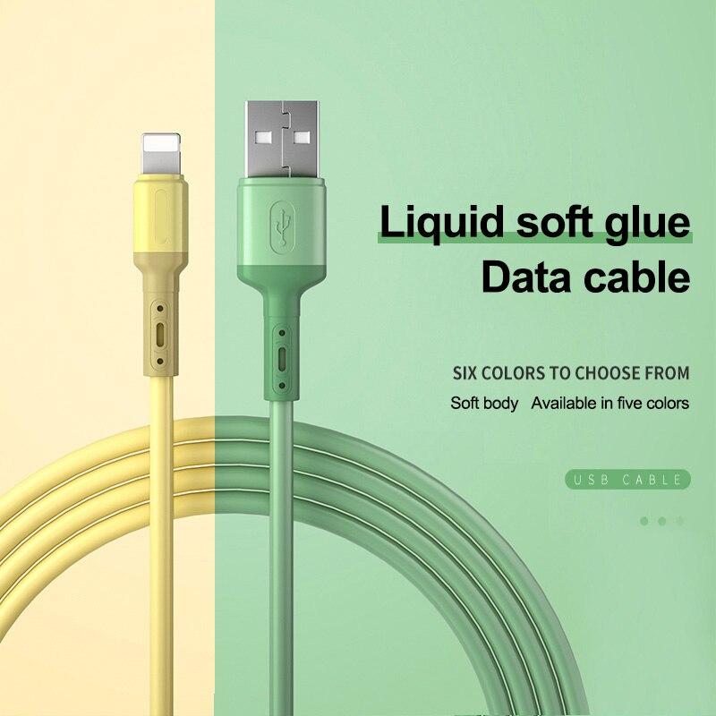 Cabo usb para iphone 11 pro max x xr xs 8 7 6 6s 5 5S, carregamento rápido de dados cabo de silicone líquido do fio do carregador usb 1/1.5/2m