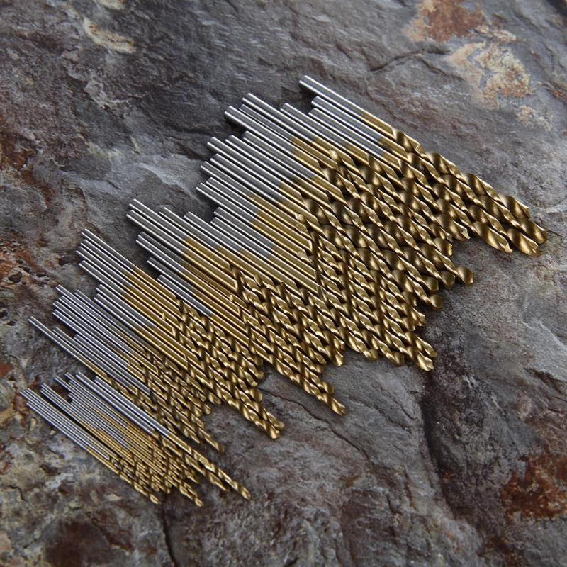 50/60Pcs/set HSS Titanium Coated Drill Bits High Speed Steel Drill Bits Set Tool High Quality Power Tools Metal Drilling