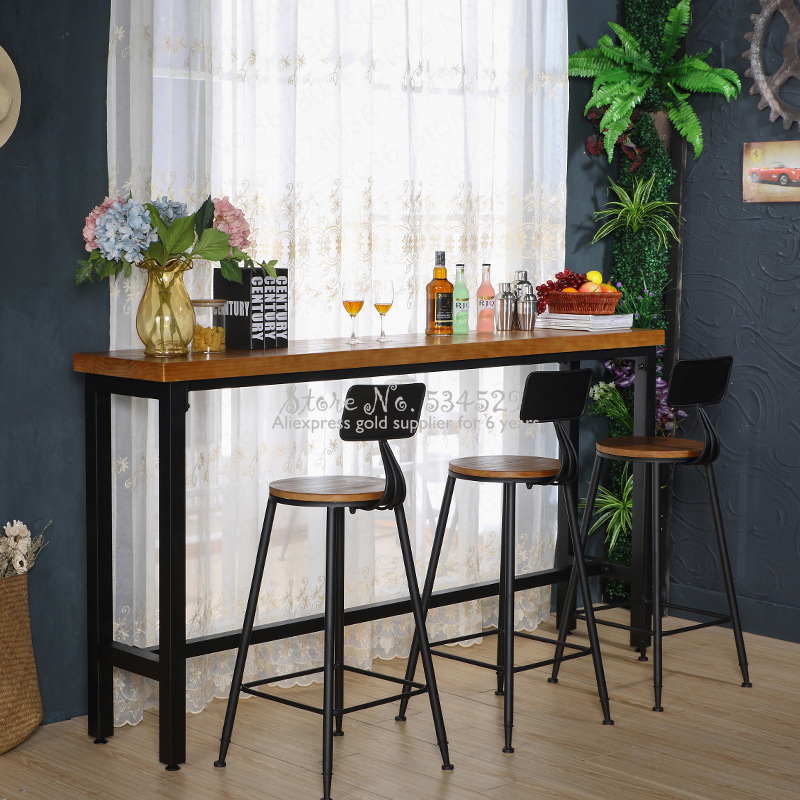 21%New European Bar Stool Solid Wood Bar Stool Home Retro Back Lift Rotating High Stool Front Cashier Bar Chair