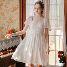 Princess Elegant Waisted Nightdress Female Summer Lace Sexy Court Sleepwear Mesh Cotton Home Service GZ30