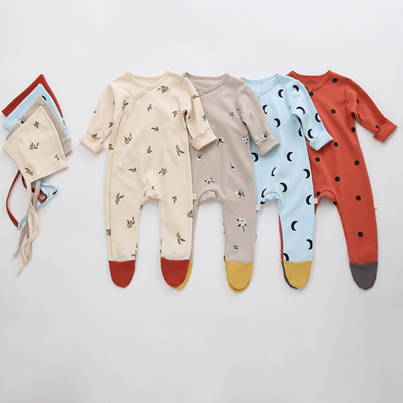 Yg Baby Clothes Newborn Baby Clothes With Hat Printing Baby Jumpsuit Long Sleeve Boys And Girls' Autumn Underpainting Jumpsuit 6