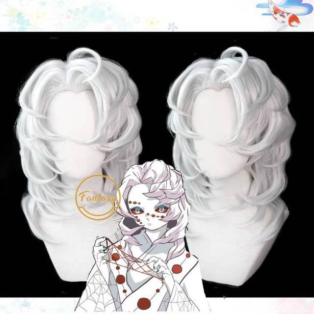 悪魔特効kimetsuなしyaiba ayaki瑞コスプレウィッグクモシルバーロングストレート人工毛大人のハロウィン + 送料かつらキャップ