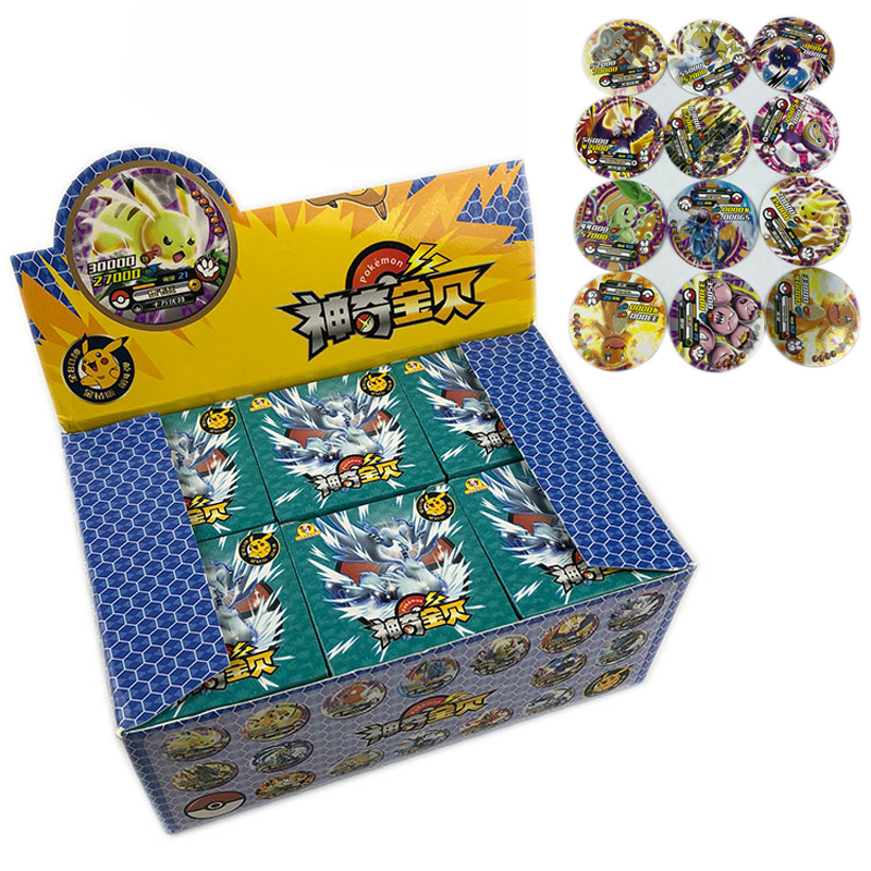 288PCS Anime Pokemon Round Cards Capture Elves Animation Game Elves Card Game Collection Cards Christmas Gift Toys