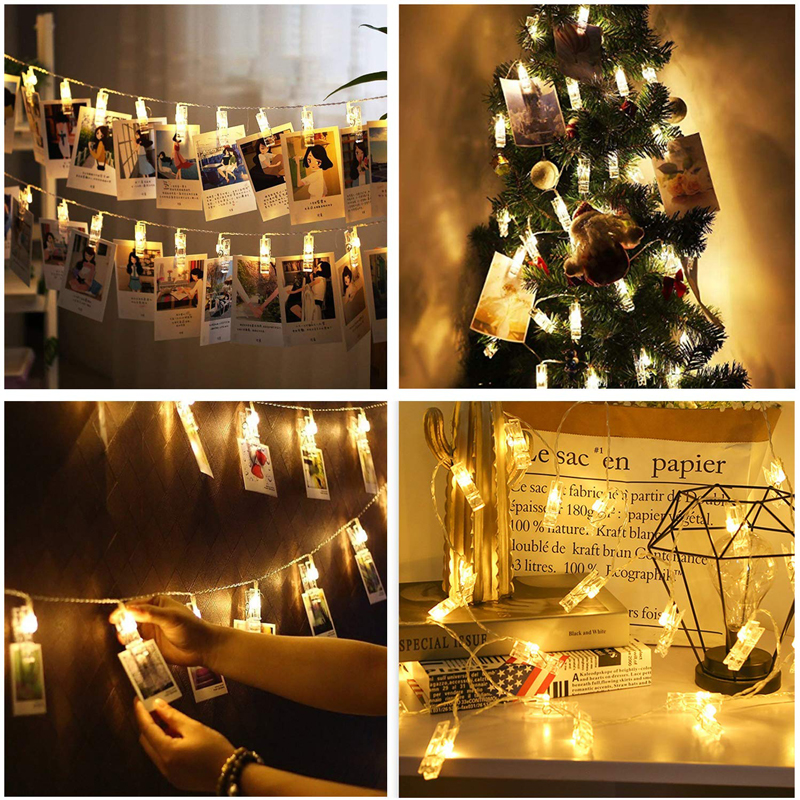 Hanging Photo Clip LED String Lights USB Powered 8M Long Peg Light With Remote Decorations For Christmas Birthday Wedding Party