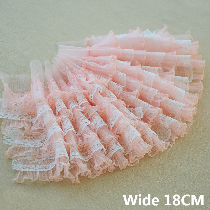18CM Wide Multi Layers Chiffon 3D Pleated Embroidered Lace Elastic Ruffle Trim Fluffy Wedding Dress Fringe Ribbon Sewing Supply(China)