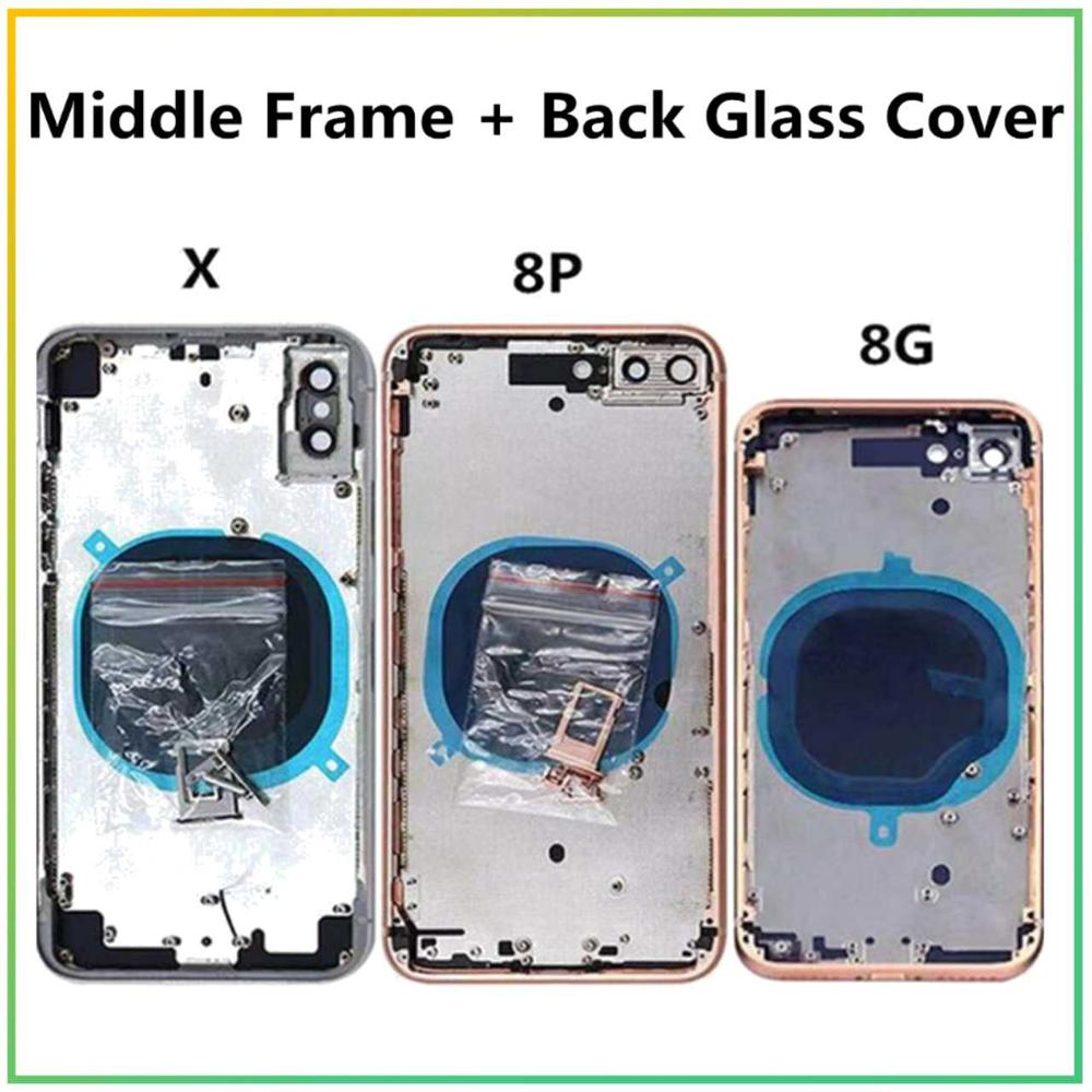 For IPhone 8 8 Plus Iphone X Rear Housing Back Battery Cover  Middle Frame And Back Glass Cover CE + Text For Iphone 8 8PLUS X