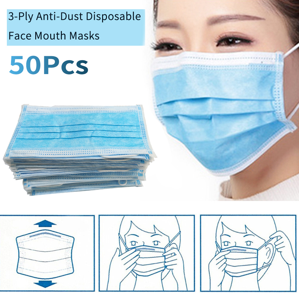 50 Pcs Of Dust-proof Facial Health Protection Masks Three-layer Non-woven Masks, Disposable Masks Antivirus Bacteria Wholesale