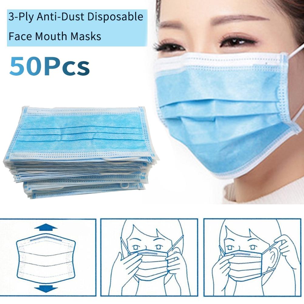 50 Pcs Of Dust-proof Facial Health Protection Masks Three-layer Non-woven Masks, Disposable Masks Antivirus Bacteria Wholesale