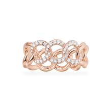 SLJELY Fashion Rock Rose Gold Color 925 Sterling Silver Pink Chain Link Finger Ring Micro Pave Zircon Women September Jewelry