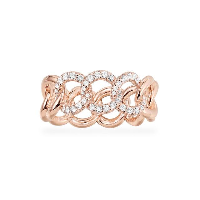 SLJELY Fashion Rock różowe złoto kolor 925 srebro różowy łańcuszek Link Ring Finger Micro Pave cyrkon kobiety wrzesień biżuteria
