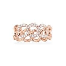 SLJELY moda kaya gül altın renk 925 ayar gümüş pembe zincir bağlantı parmak yüzük mikro açacağı zirkon kadınlar eylül takı