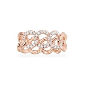 Image 1 - Sljely Fashion Rock Rose Goud Kleur 925 Sterling Zilver Roze Chain Link Finger Ring Micro Pave Zirkoon Vrouwen September Sieraden