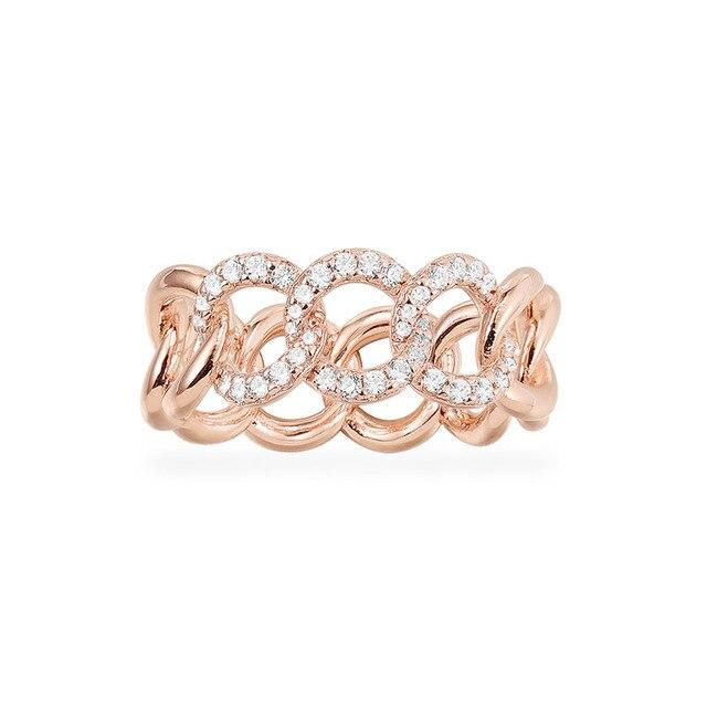 Sljely Fashion Rock Rose Goud Kleur 925 Sterling Zilver Roze Chain Link Finger Ring Micro Pave Zirkoon Vrouwen September Sieraden