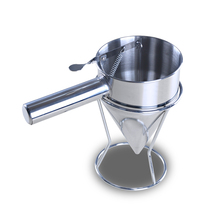 Stainless Steel Funnel Egg Fort Red Bean Cake Machine Leaking Pot Pulp Bucket Thickening Funnel with Octopus Balls