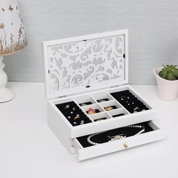 2 Layers Retro Wooden Drawer Ring Earring Jewelry Box with Hollow Carved Cover Makeup Case Organizer Women Jewelry Display Box image