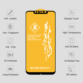 10PCS 6D Tempered Glass for POCO X3 NFC Screen Protector POCO X3 Safety Glass on Xiaomi Poco X3 NFC Pocophone F1 F2 Pro