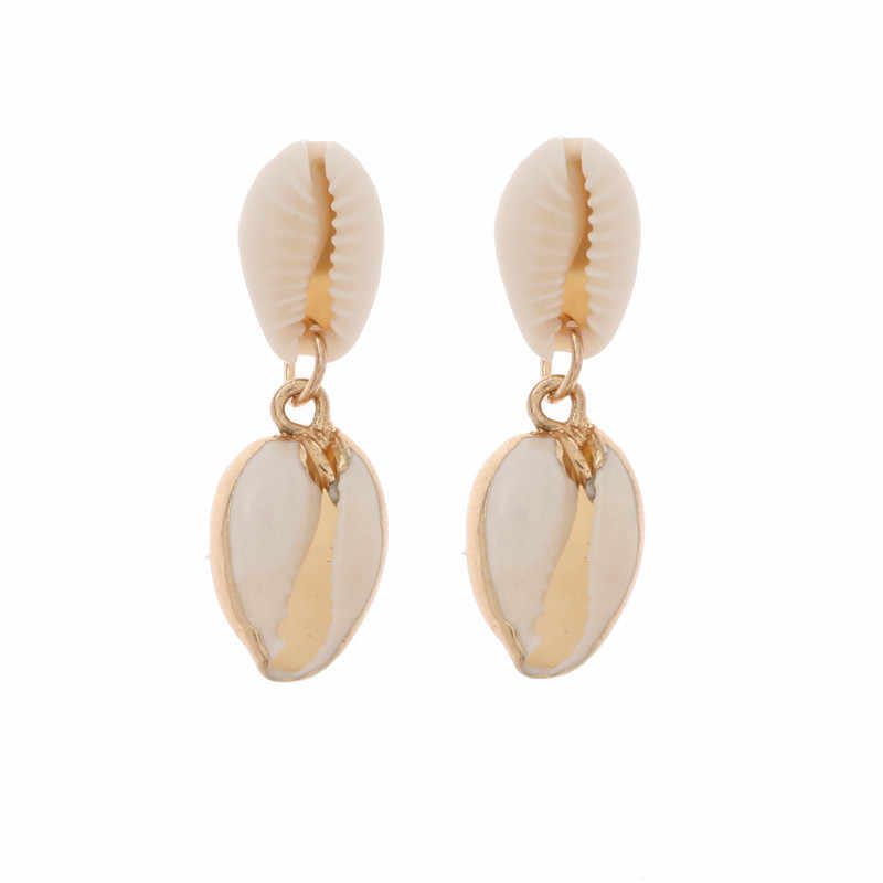 Echt Shell Mode frauen Ohrringe Zubehör Weihnachten Halloween Geschenk Baumeln Ohrring Luxus Aussage Schmuck 2020