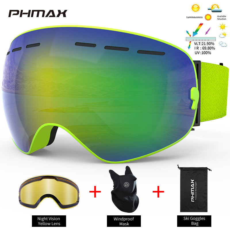PHMAX лыжные очки с ночным видением желтые линзы мужские и женские зимние двухслойные очки для сноуборда уличные лыжные снежные очки