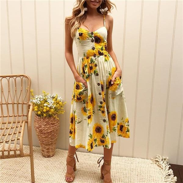 Boho Sexy Floral Dress Summer Vintage Casual Sundress Female Beach Dress Midi Button Backless Polka Dot Striped Women Dress2020  28