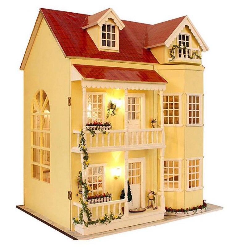 Diy artesanato em miniatura projeto kit bonecas de madeira casa luzes led música villa