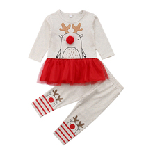 Christmas Toddler Girl Clothes Cartoon Long Sleeve Dress+Pants Girls Outfits Lovely Baby Kids Xmas Clothes Sets 1 2 3 4 Years neat wholesale new baby girl clothes college style lovely girls dresses kids clothes long sleeve dress cartoon elephant sg006