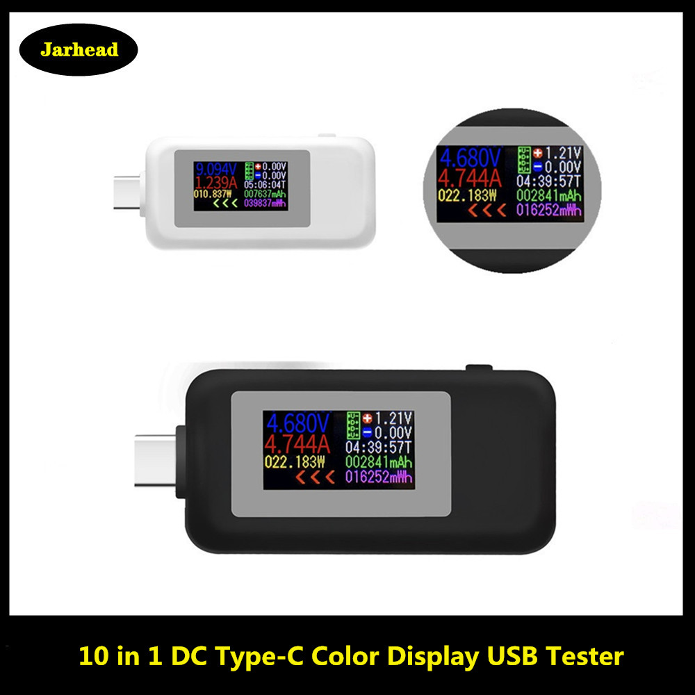 10 in 1 <font><b>DC</b></font> Type-C USB Tester Current 4-<font><b>30V</b></font> Voltage Meter Timing Ammeter Digital Monitor Cut-off Power Indicator Bank Charger image