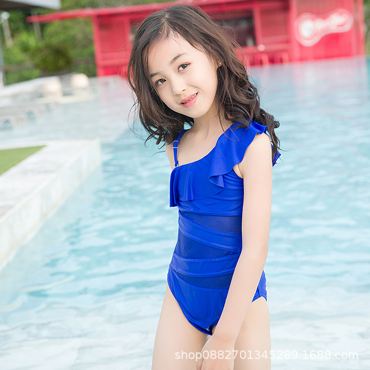2019 Spa Resort Girls Children GIRL'S One-piece Triangular Bathing Suit Lace Shoulder Sleeve Bathing Suit Fashion Sexy