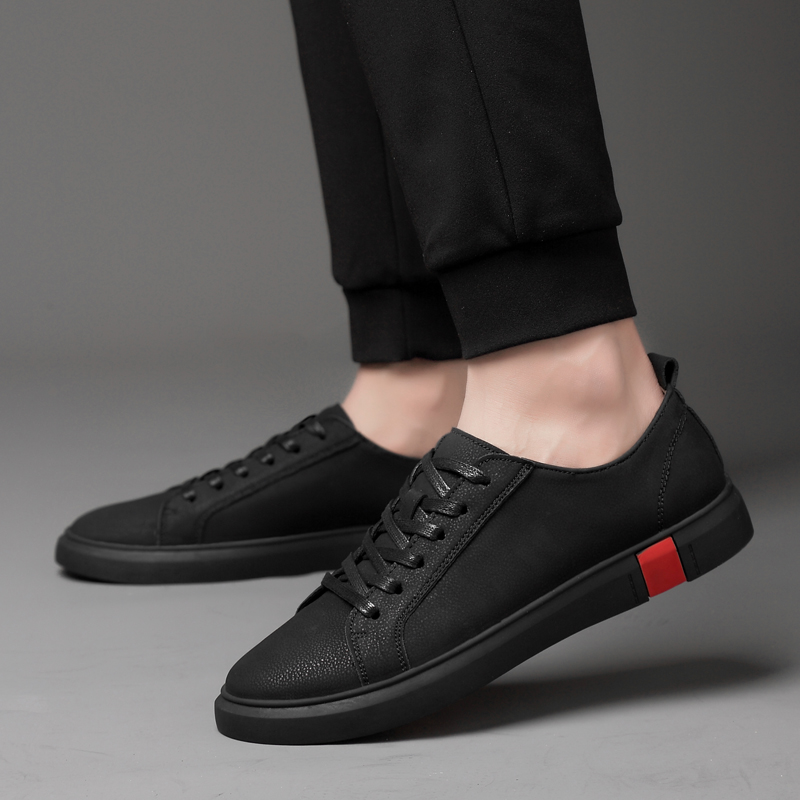 Mens Genuine Leather Shoes Fashion Sneakers Casual Loafers Flats Skateboarding Shoes Lace Up Low Cut Trend Creepers Brand Design