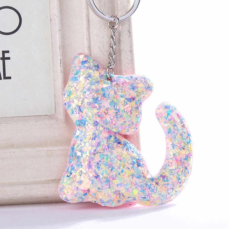 Женский милый кот котёнок брелок с блестками для ключей женская сумка Кошелек держатель для кулонов брелок