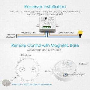 Image 5 - שלט רחוק אלחוטי אור מתג 220V עם זעיר ממסר מודול מגנטי קיר מתג או להיות נייד 200m טווח קל להתקין