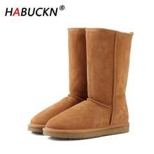 HABUCKN high quality snow boots for women winter shoes Genuine Leatherfur lined big girls tall wool thigh winter black boots