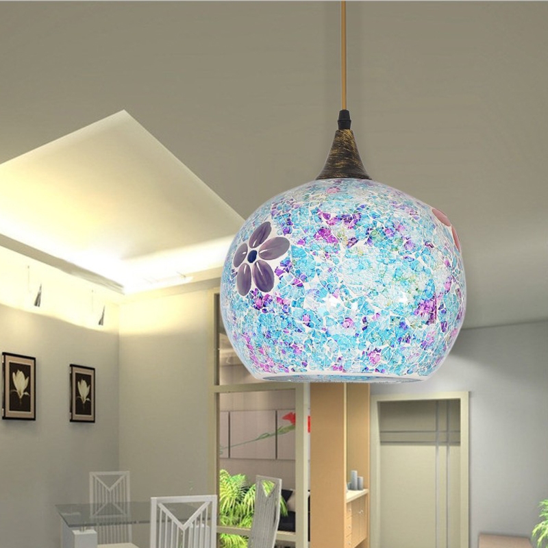 25cm Bohemian Style Glass Lampshade Mediterranean Multicolor Pendant Lamp Corridor For Bedroom Single-head Luminaire